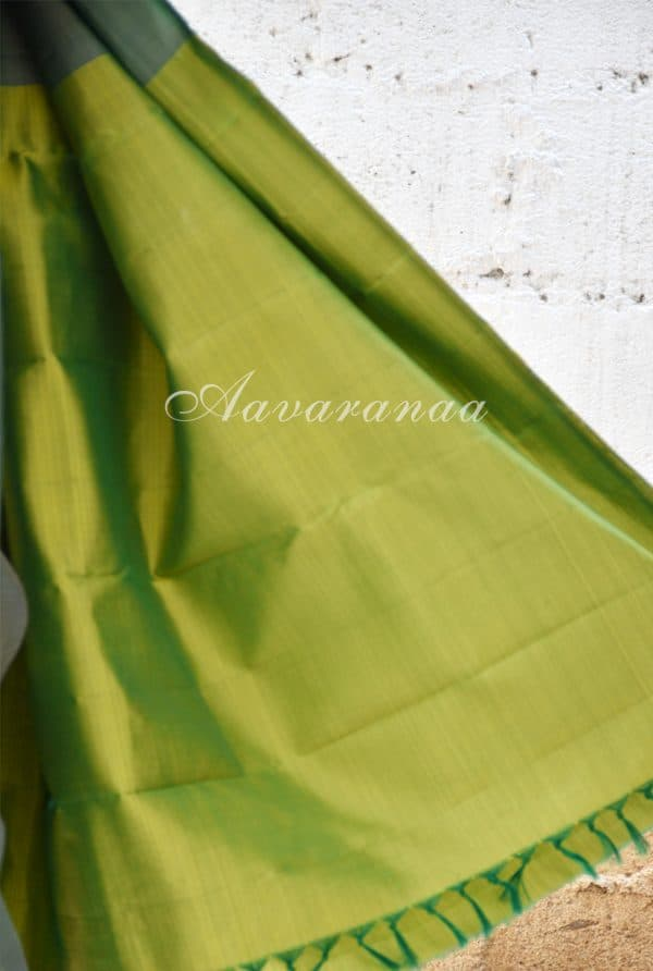 Striped green kancheepuram silk saree-18590