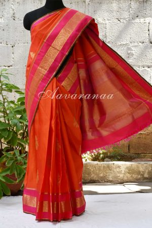 Orange kancheepuram silk saree with pink zari border -0