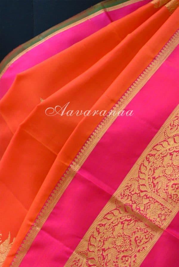 Orange kancheepuram silk saree with pink zari border -18592