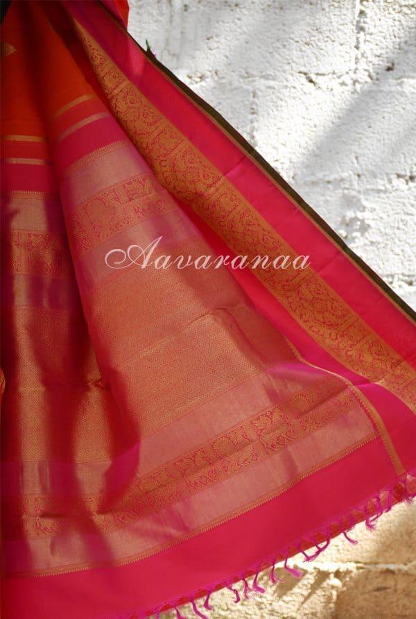 Orange kancheepuram silk saree with pink zari border -18593