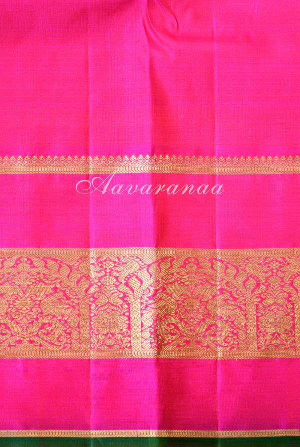 Orange kancheepuram silk saree with pink zari border -18591