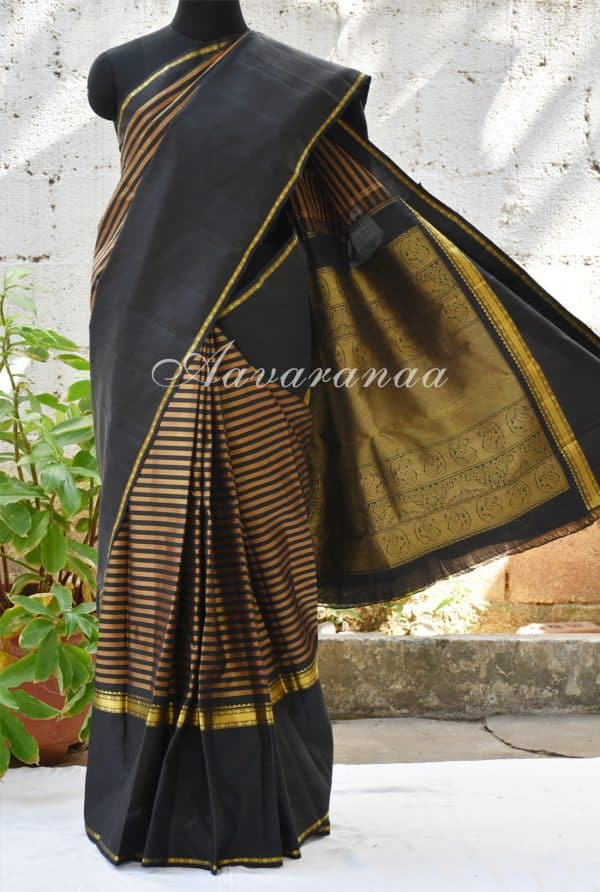 Black and gold kancheepuram silk saree with rettai pettu border-0