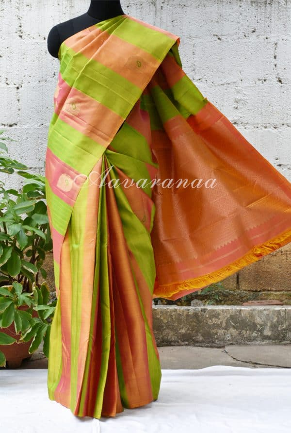 Peach and lemon green kancheepuram silk saree with panels-0