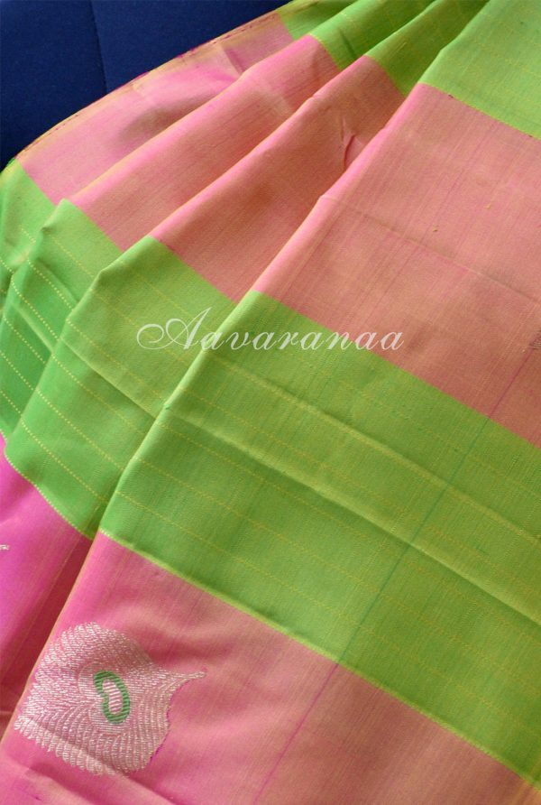 Peach and lemon green kancheepuram silk saree with panels-18612