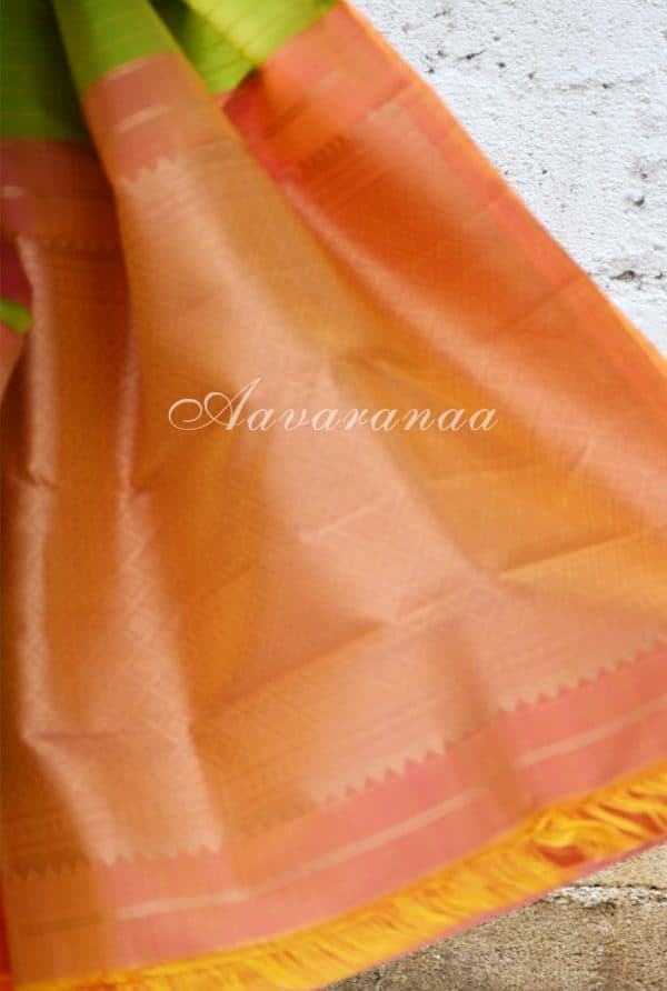 Peach and lemon green kancheepuram silk saree with panels-18611