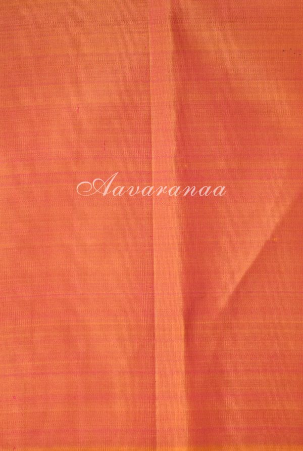 Peach and lemon green kancheepuram silk saree with panels-18614