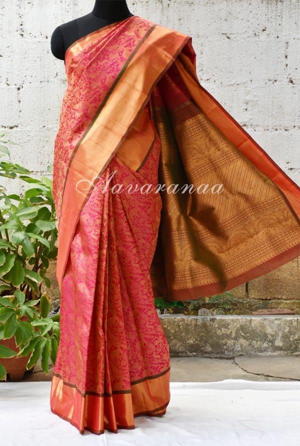 Bright pink vanasingaram kancheepuram silk saree with gold border-0