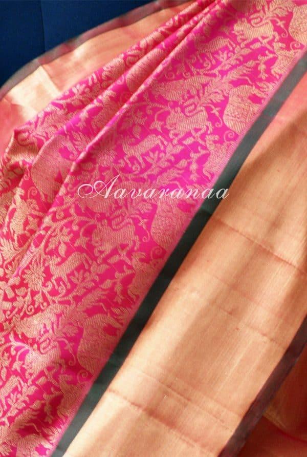 Bright pink vanasingaram kancheepuram silk saree with gold border-18619