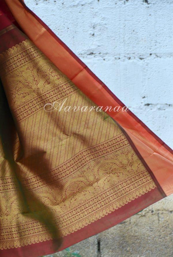 Bright pink vanasingaram kancheepuram silk saree with gold border-18620