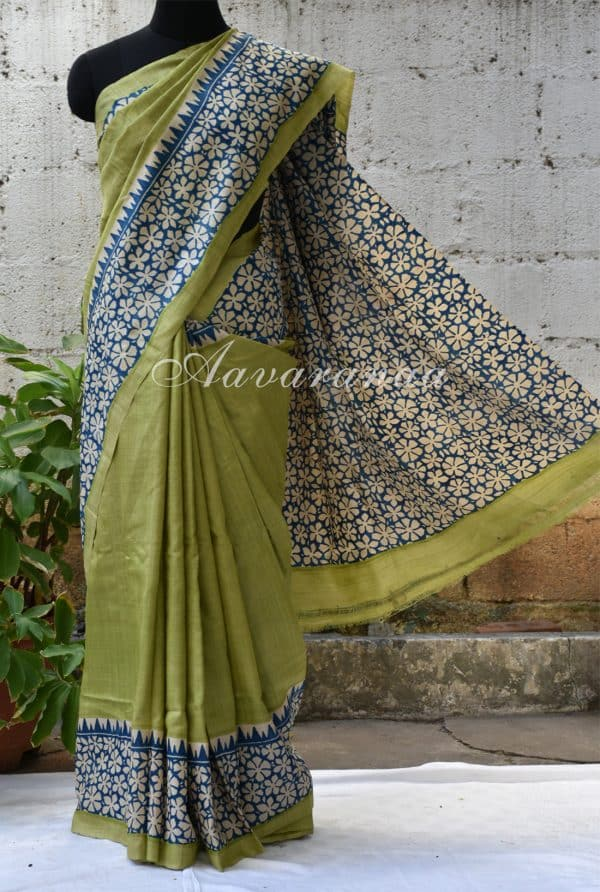 Light green block printed tussar saree-0