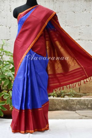 Blue tiny checks kanchi silk saree with maroon plain border -0