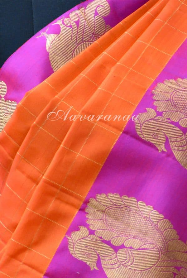 Orange zari checks kancheepuram silk saree with pink peacock border-18648