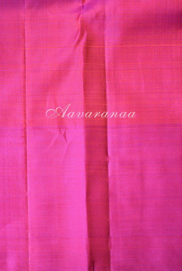 Orange zari checks kancheepuram silk saree with pink peacock border-18651