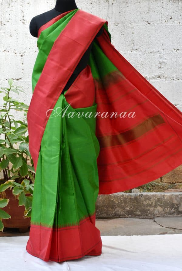 Plain green kancheepuram silk with red border -0