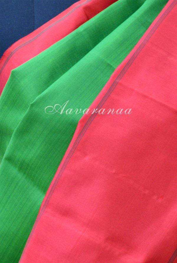 Plain green kancheepuram silk with red border -18671