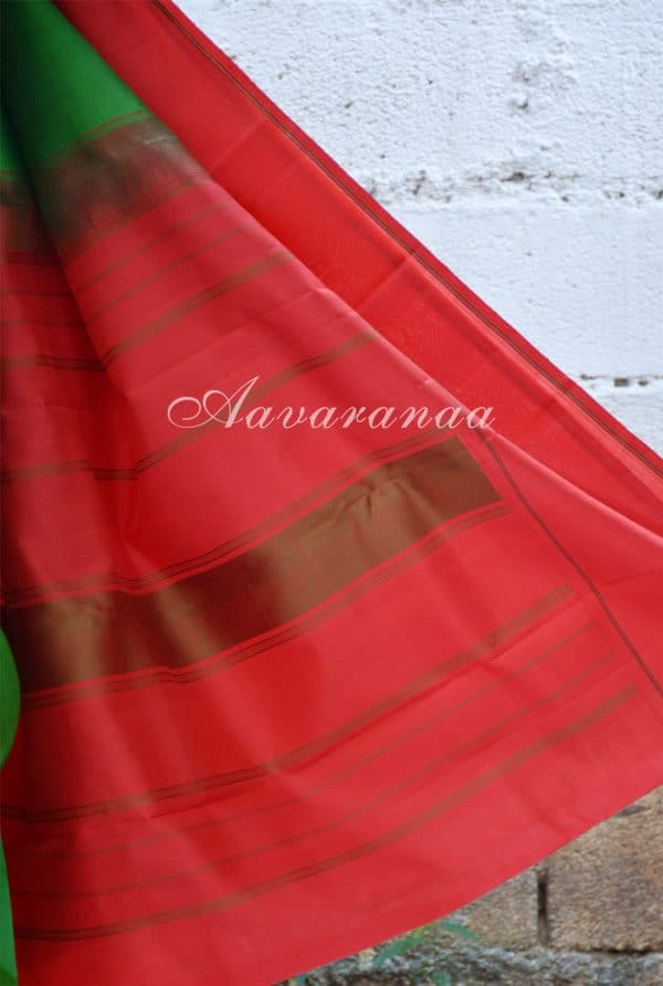 Plain green kancheepuram silk with red border -18669
