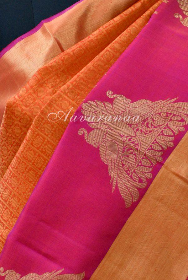 Orange thread woven kanchi silk saree with pink border-18680