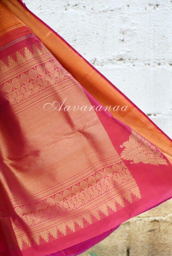 Orange thread woven kanchi silk saree with pink border-18681