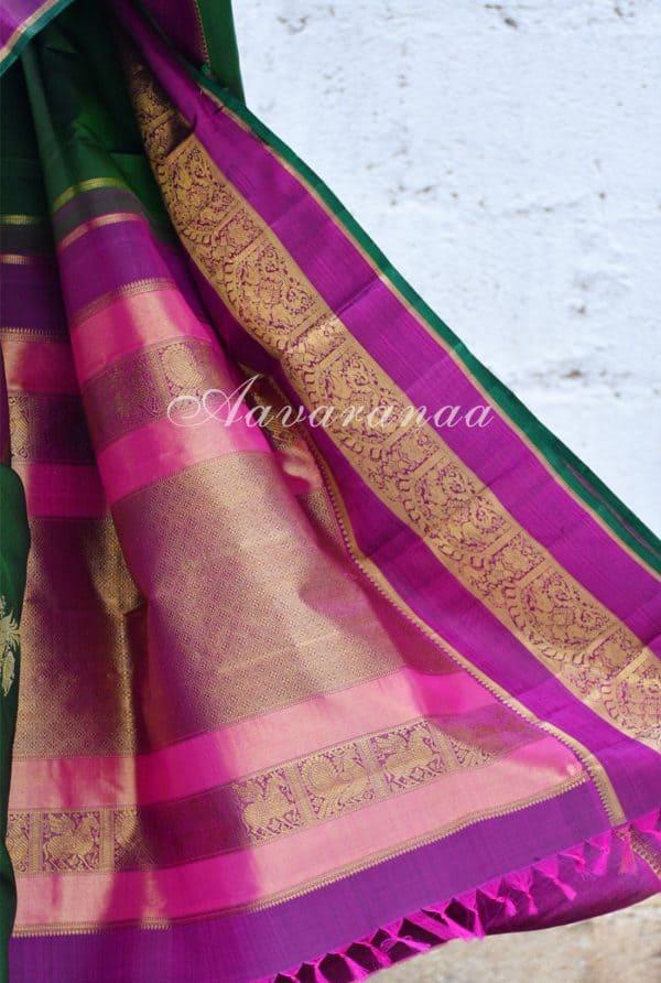 Leaf green kancheepuram silk saree with pink zari border -18692