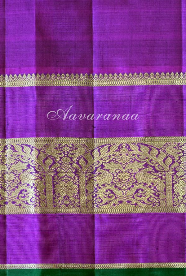 Leaf green kancheepuram silk saree with pink zari border -18695