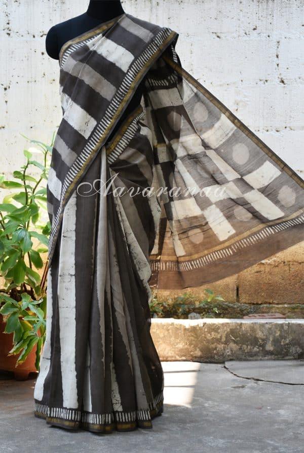 Grey chandheri saree with bold stripes -0