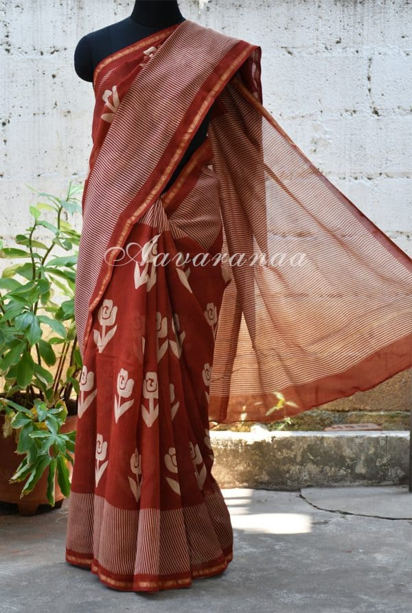 Rust chandheri saree with rose print-0