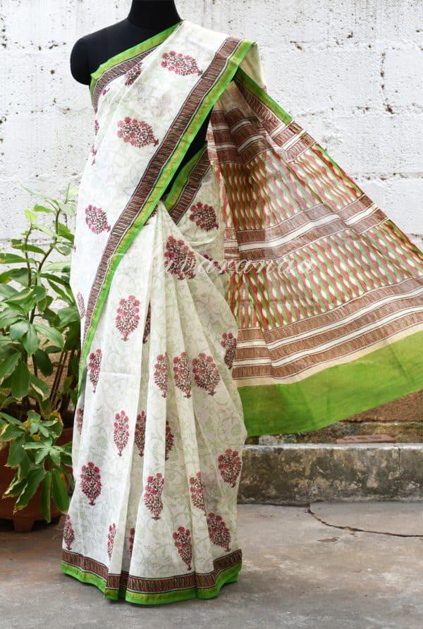 White chandheri saree with pink floral prints -0