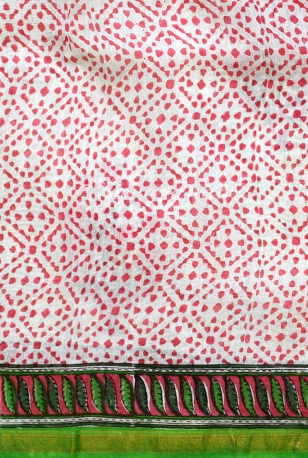White chandheri saree with pink floral prints -18757