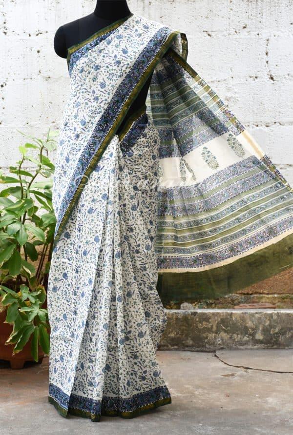 White chandheri saree with lotus print-0