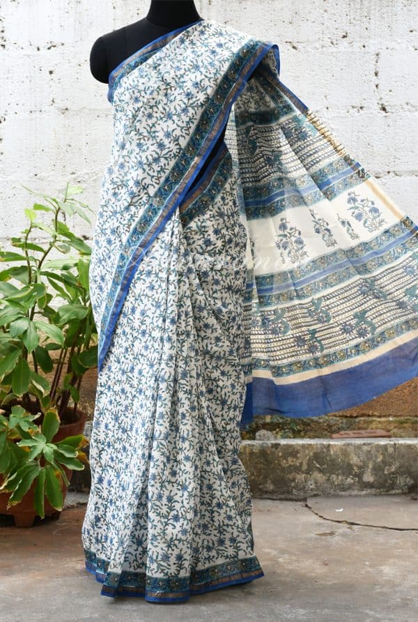 White chandheri floral print saree -0