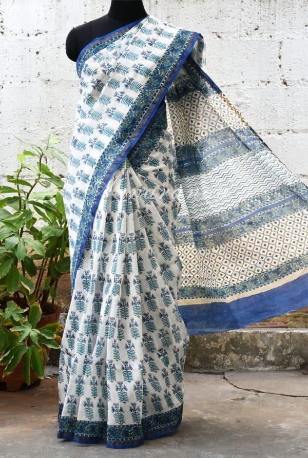 White chandheri saree with blue print-0