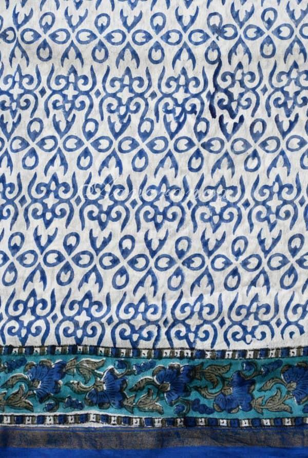 White chandheri saree with blue print-18763