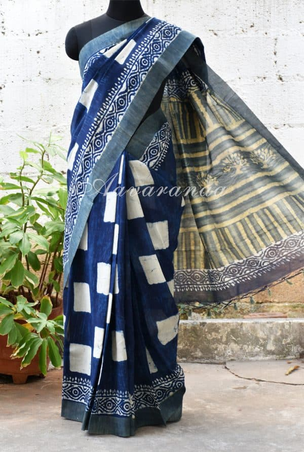 Indigo blue square print chandheri saree with gheecha border -0