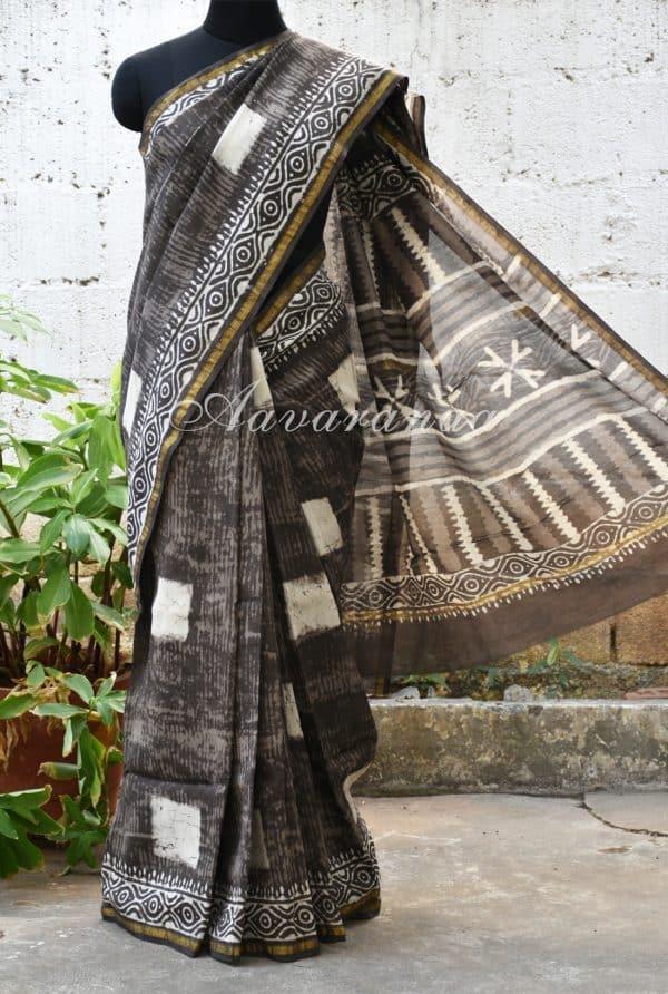 Grey square print chandheri saree -0
