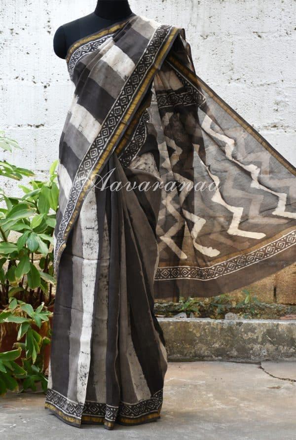 Grey vertical stripes chandheri block print saree-0