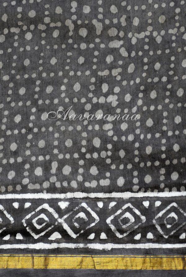 Grey vertical stripes chandheri block print saree-18789
