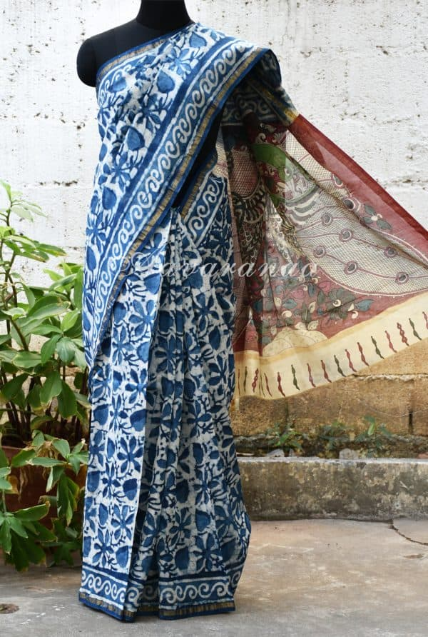 Indigo blue all over print chandheri saree with kalamkari print pallu -0