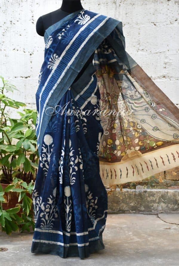 Indigo blue floral print chandheri saree with kalamkari print pallu -0
