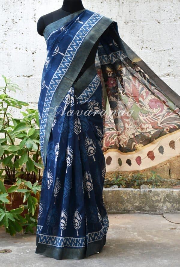 Indigo blue feather print chandheri saree with kalamkari print pallu -0