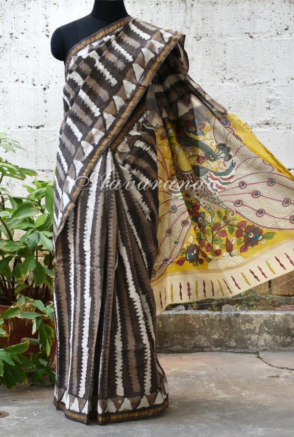 Grey stripes chanderi saree with kalamkari print pallu-0