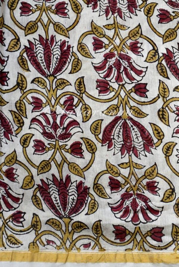Grey stripes chanderi saree with kalamkari print pallu-18805