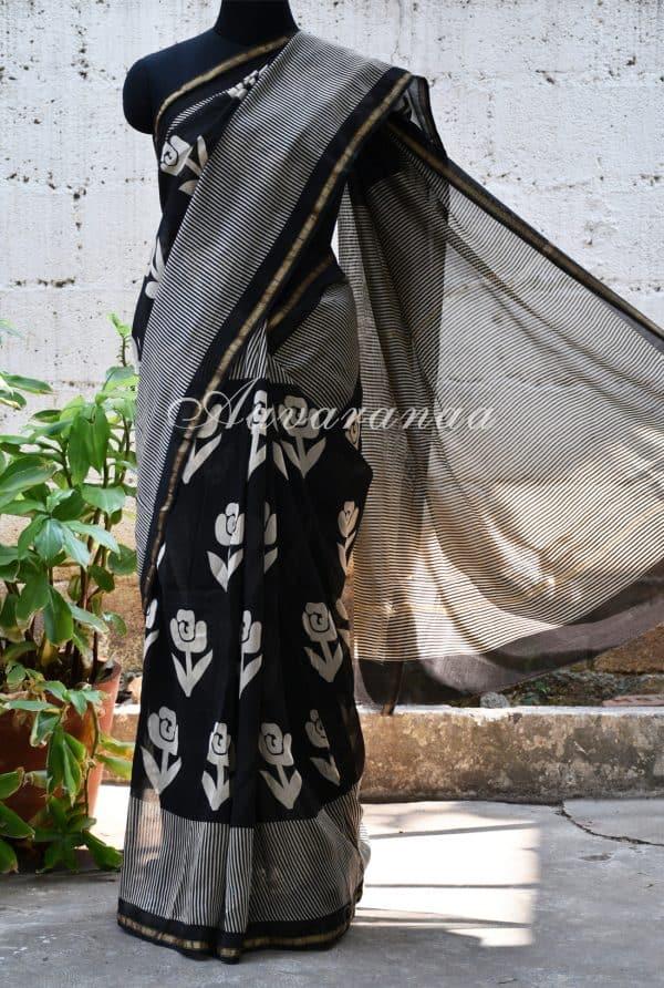 Black block printed chanderi saree-0