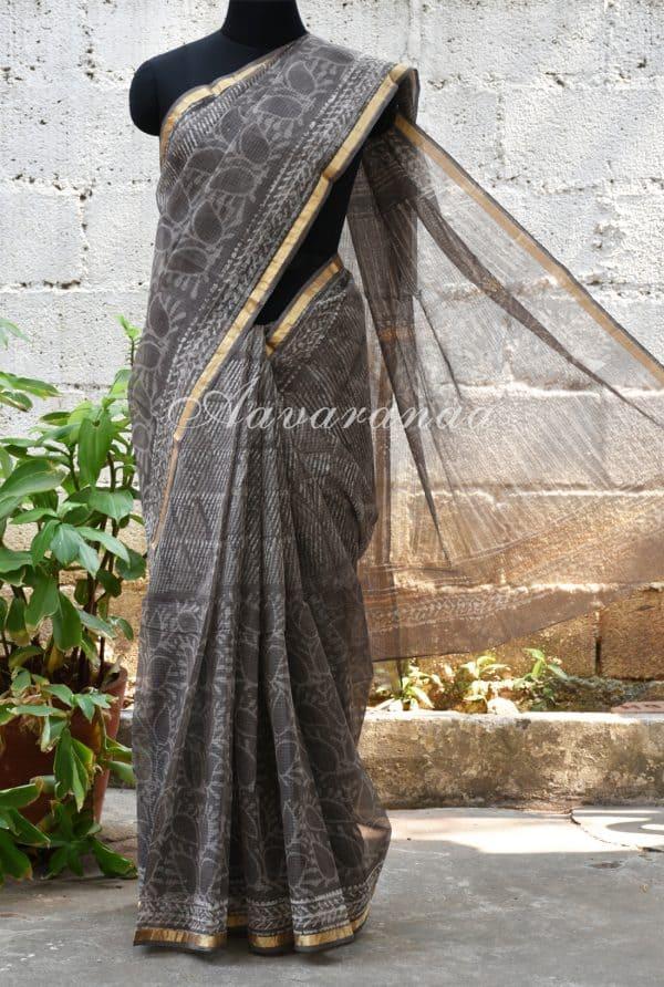 Grey half an half style printed kota saree-0