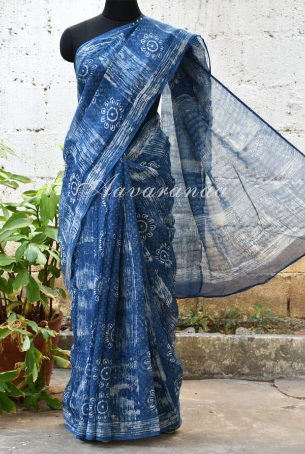 Indigo blue and beige block printed kota saree-0