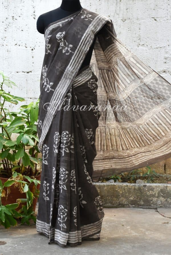 Grey and off white block printed kota saree-0