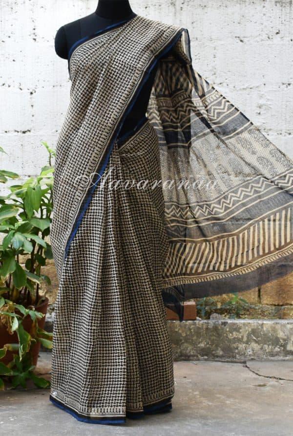 Beige kota saree with geometric block print -0