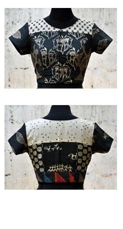 Black block printed tussar blouse-0