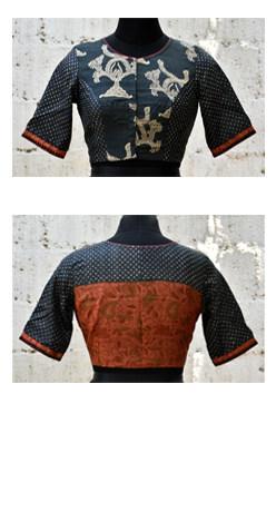 Black and rust block printed tussar blouse-0