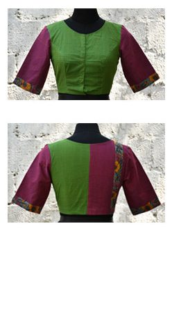 Green and purple kanchi cotton blouse-0