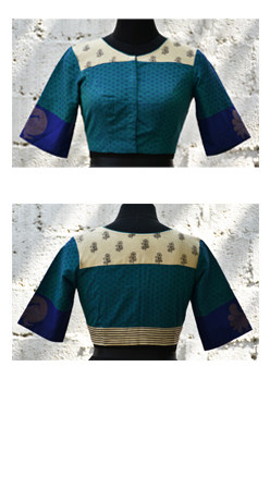 Blue and beige kanchi cotton blouse-0